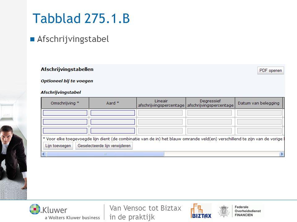 Tabblad 275.1.B Afschrijvingstabel