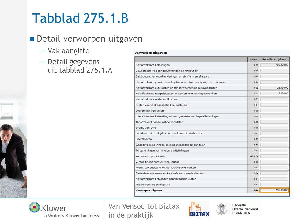 Tabblad 275.1.B Detail verworpen uitgaven Vak aangifte Detail gegevens