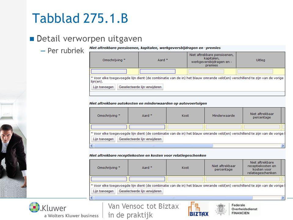 Tabblad 275.1.B Detail verworpen uitgaven Per rubriek