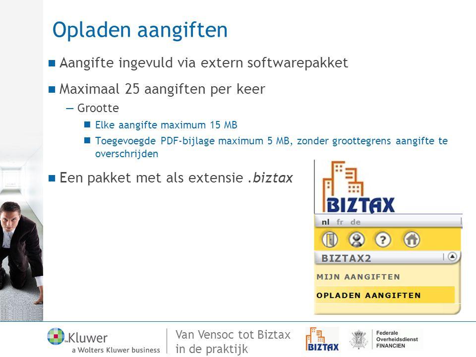 Opladen aangiften Aangifte ingevuld via extern softwarepakket