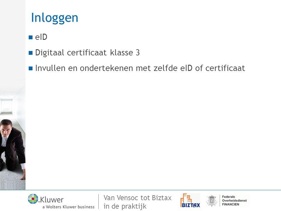 Inloggen eID Digitaal certificaat klasse 3