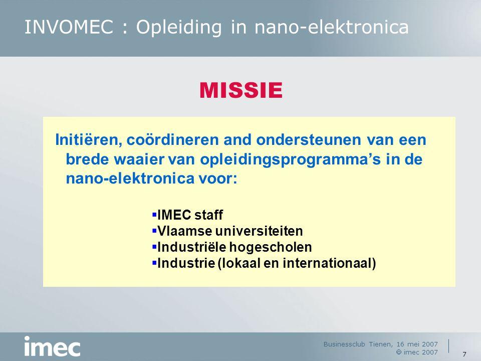 INVOMEC : Opleiding in nano-elektronica