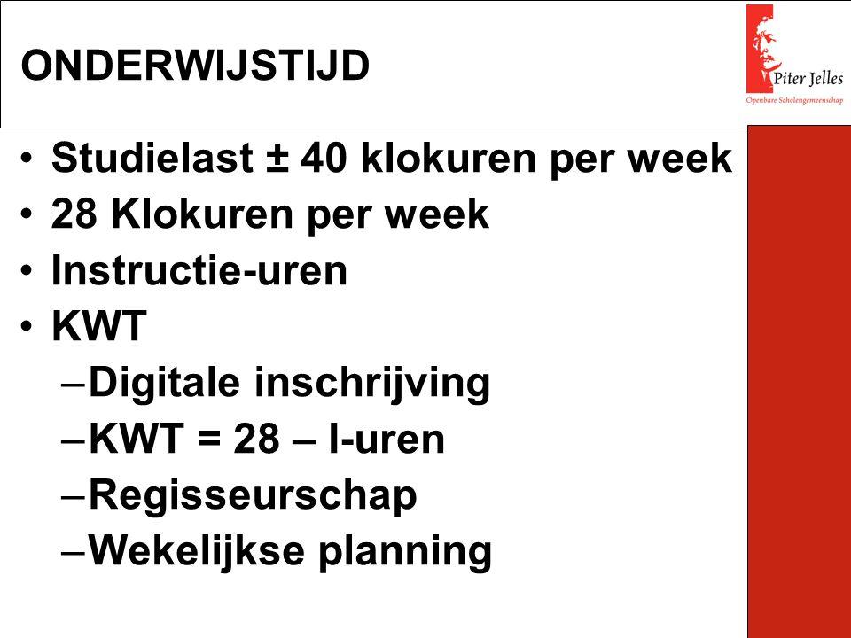 ONDERWIJSTIJD Studielast ± 40 klokuren per week. 28 Klokuren per week. Instructie-uren. KWT. Digitale inschrijving.
