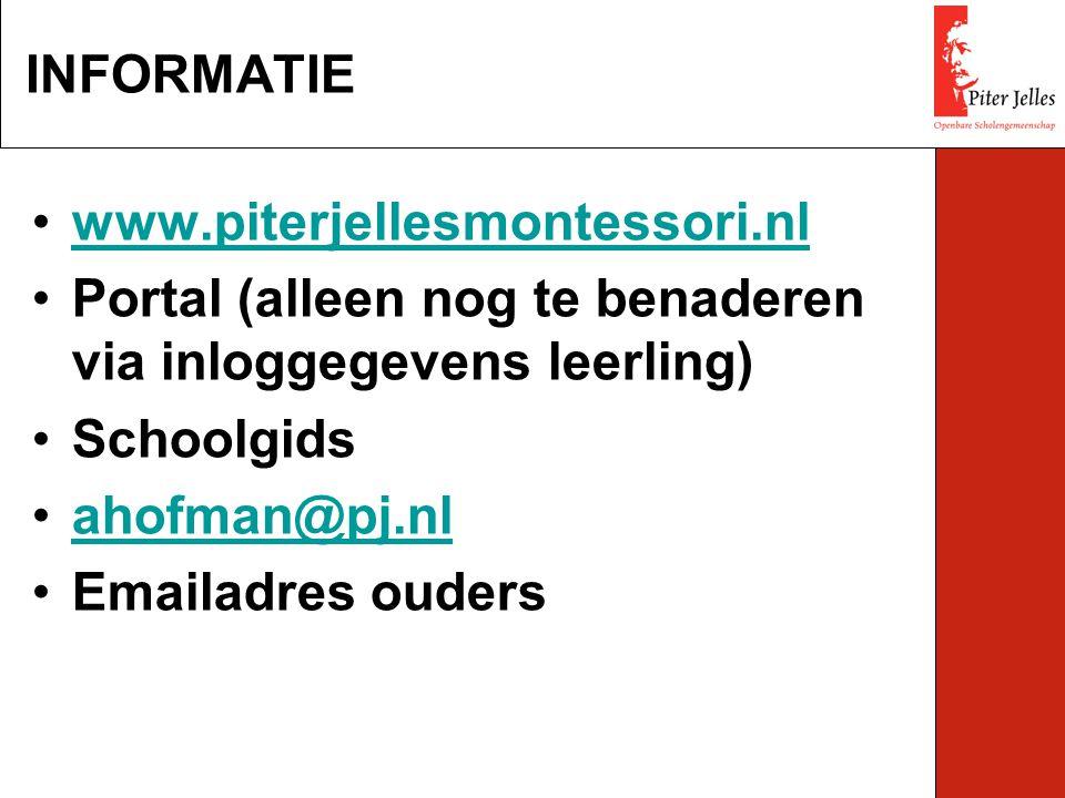 INFORMATIE www.piterjellesmontessori.nl. Portal (alleen nog te benaderen via inloggegevens leerling)