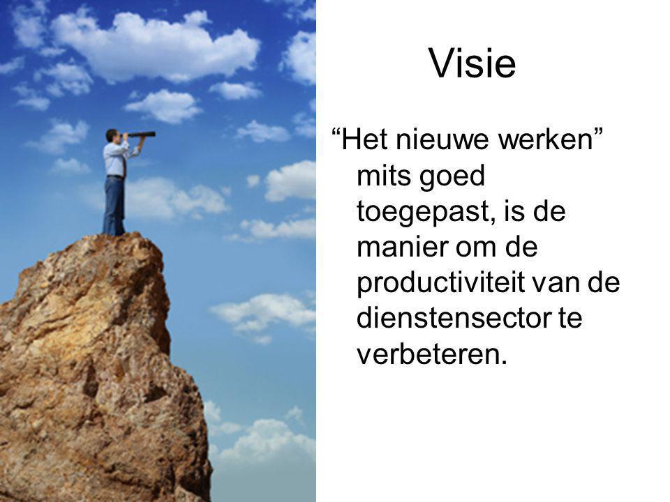 Visie Het nieuwe werken mits goed toegepast, is de manier om de productiviteit van de dienstensector te verbeteren.