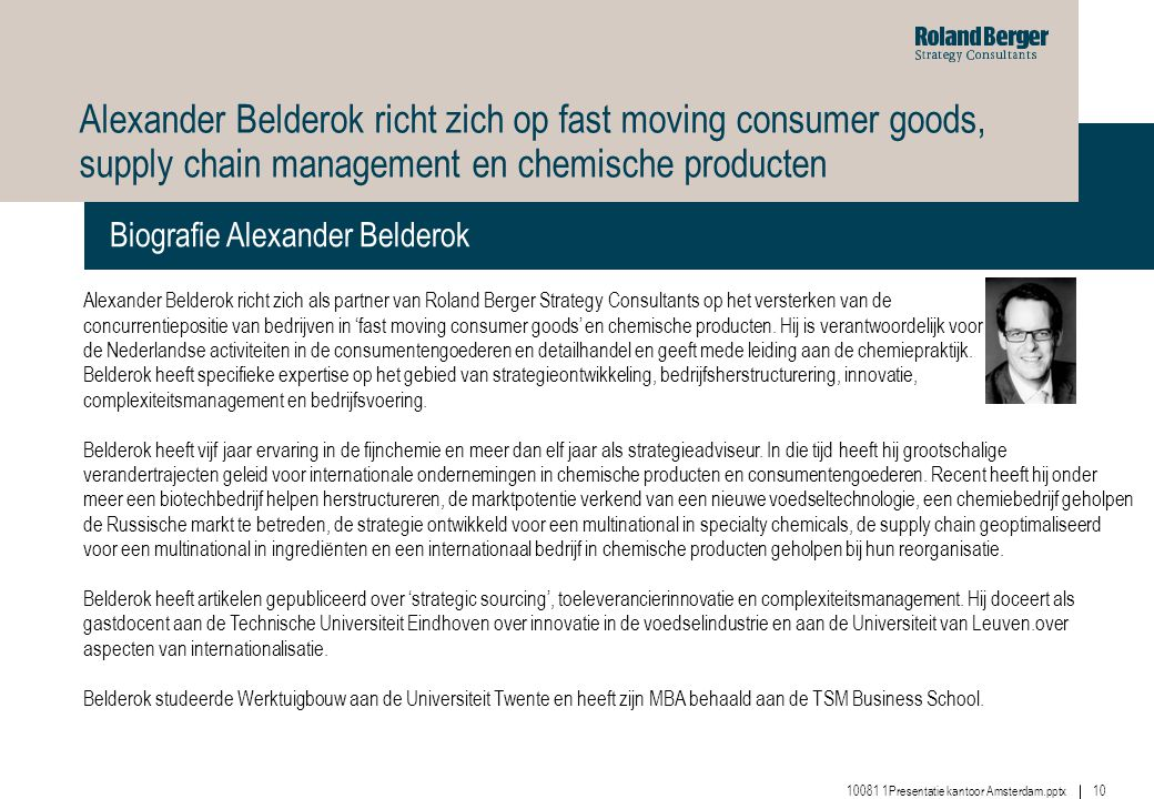 Alexander Belderok richt zich op fast moving consumer goods, supply chain management en chemische producten