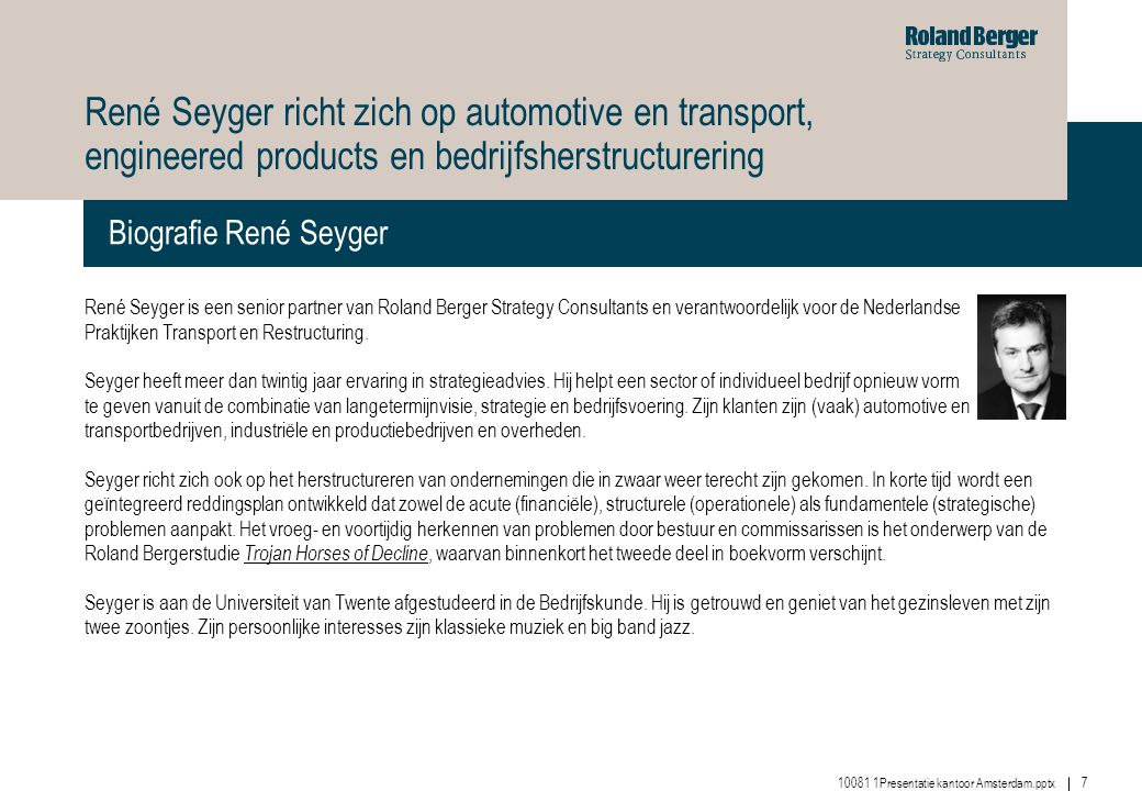 René Seyger richt zich op automotive en transport, engineered products en bedrijfsherstructurering