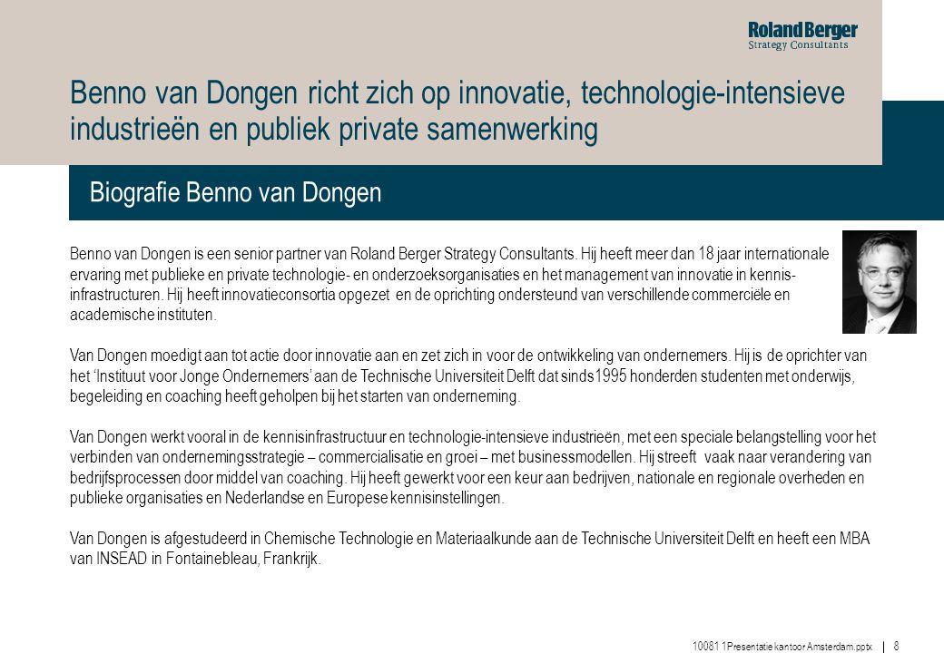 Benno van Dongen richt zich op innovatie, technologie-intensieve industrieën en publiek private samenwerking