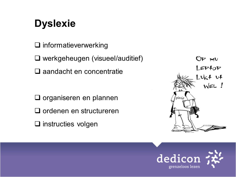 Dyslexie informatieverwerking werkgeheugen (visueel/auditief)