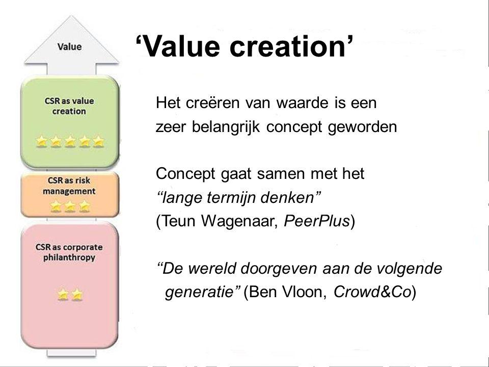 'Value creation' Het creëren van waarde is een