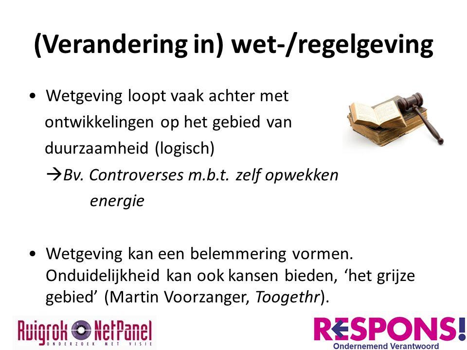 (Verandering in) wet-/regelgeving