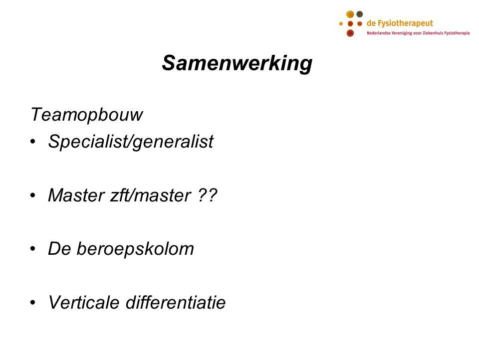 Samenwerking Teamopbouw Specialist/generalist Master zft/master