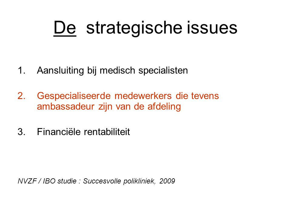 De strategische issues