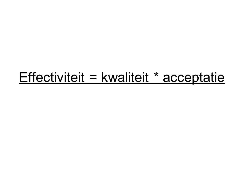 Effectiviteit = kwaliteit * acceptatie