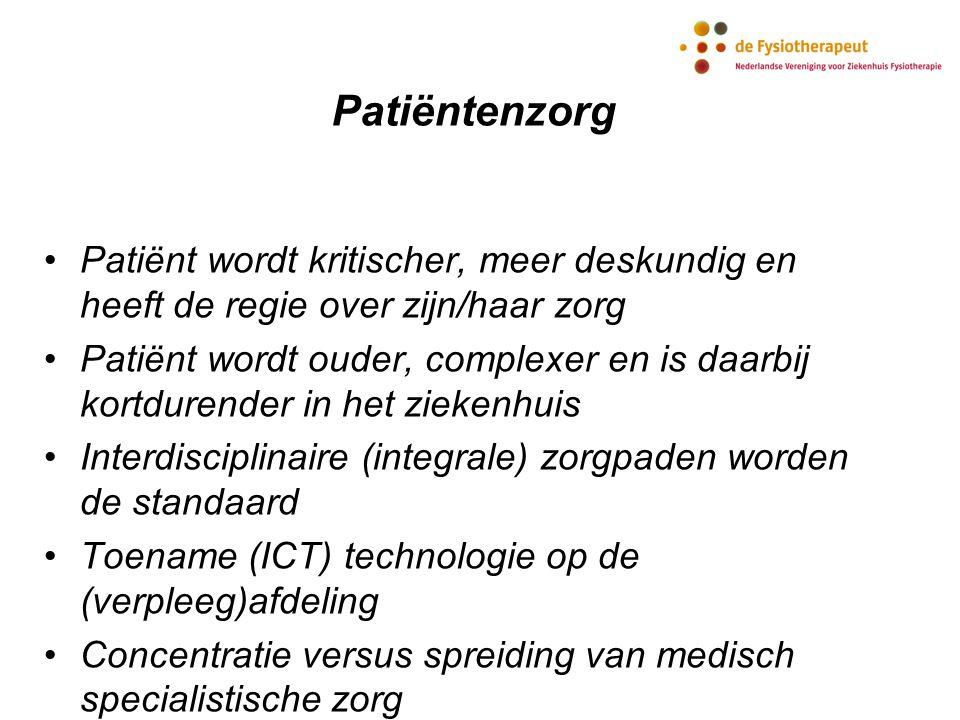 Patiëntenzorg Patiënt wordt kritischer, meer deskundig en heeft de regie over zijn/haar zorg.