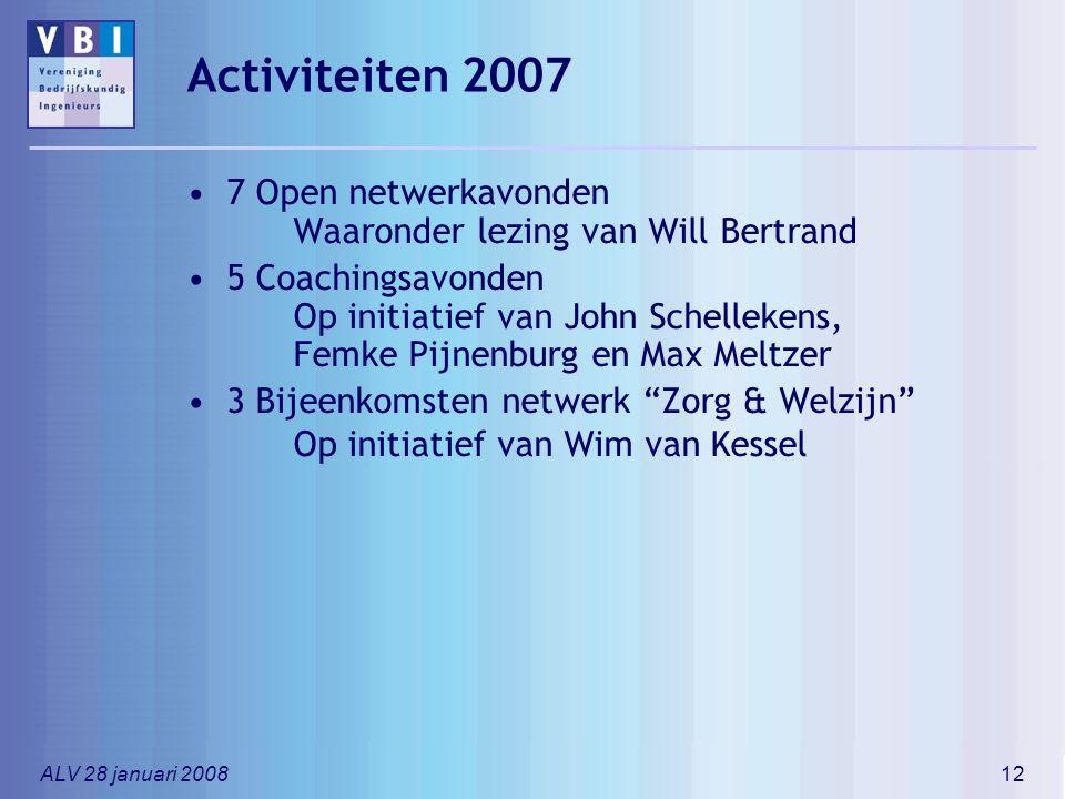 Activiteiten 2007 7 Open netwerkavonden Waaronder lezing van Will Bertrand.