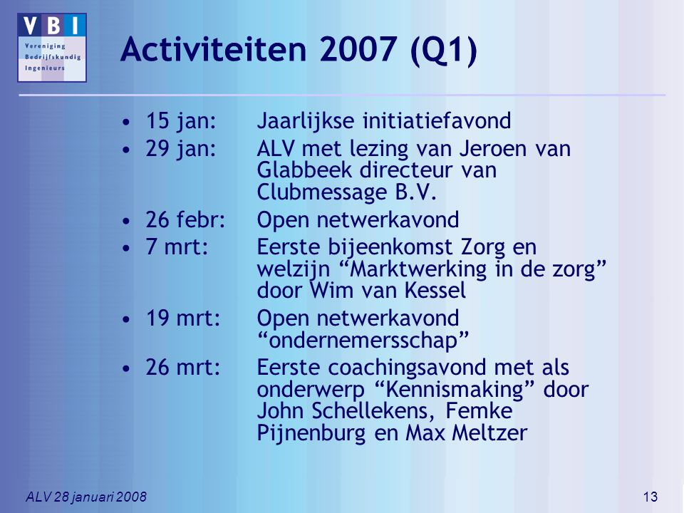 Activiteiten 2007 (Q1) 15 jan: Jaarlijkse initiatiefavond