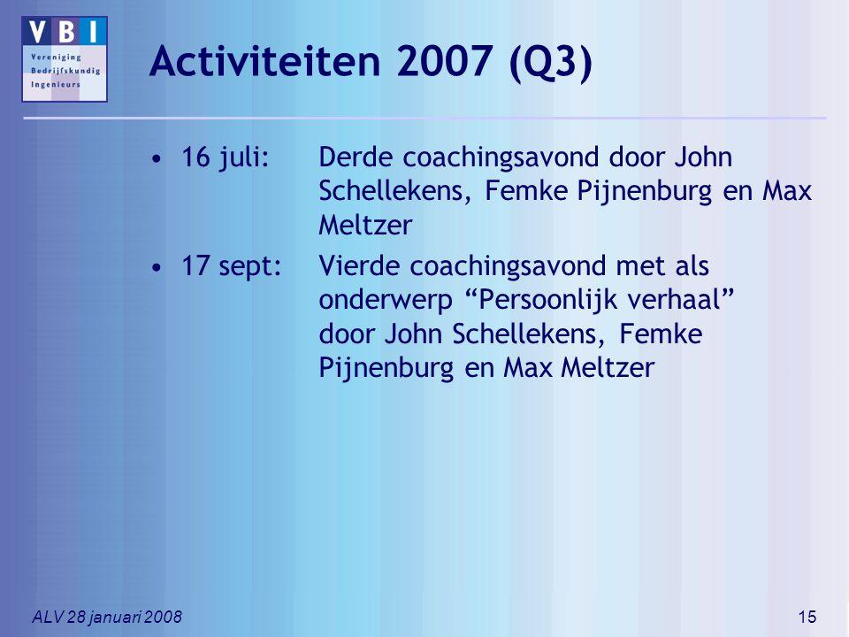 Activiteiten 2007 (Q3) 16 juli: Derde coachingsavond door John Schellekens, Femke Pijnenburg en Max Meltzer.