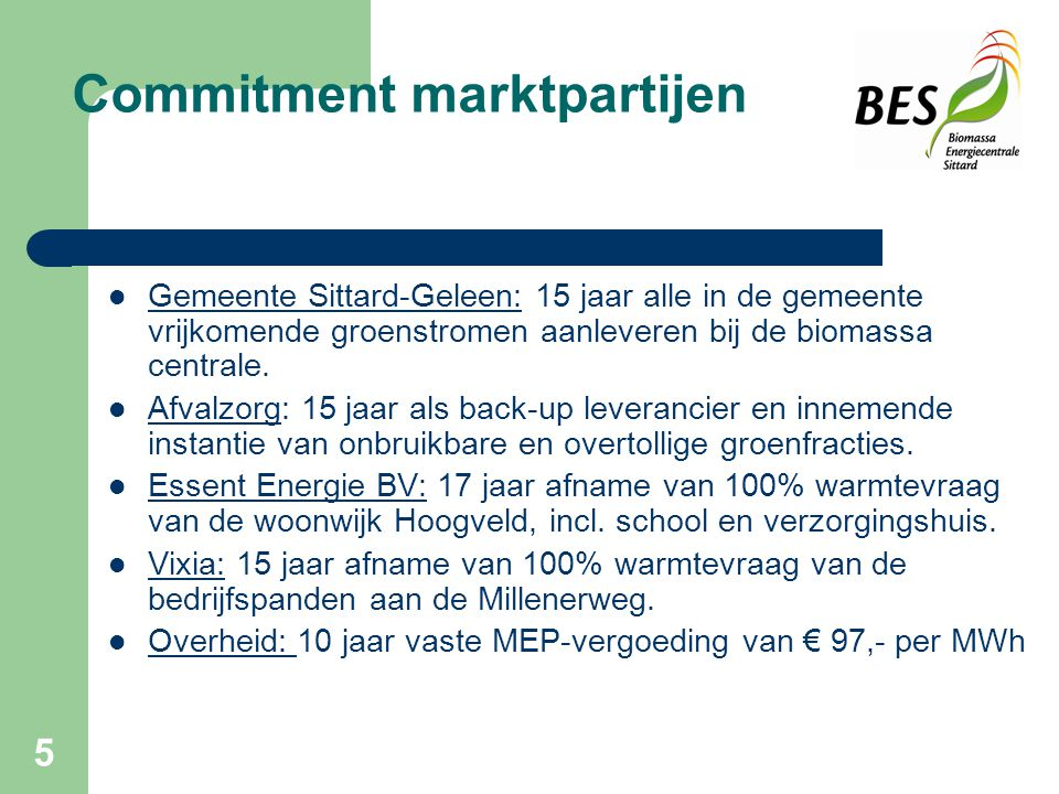 Commitment marktpartijen