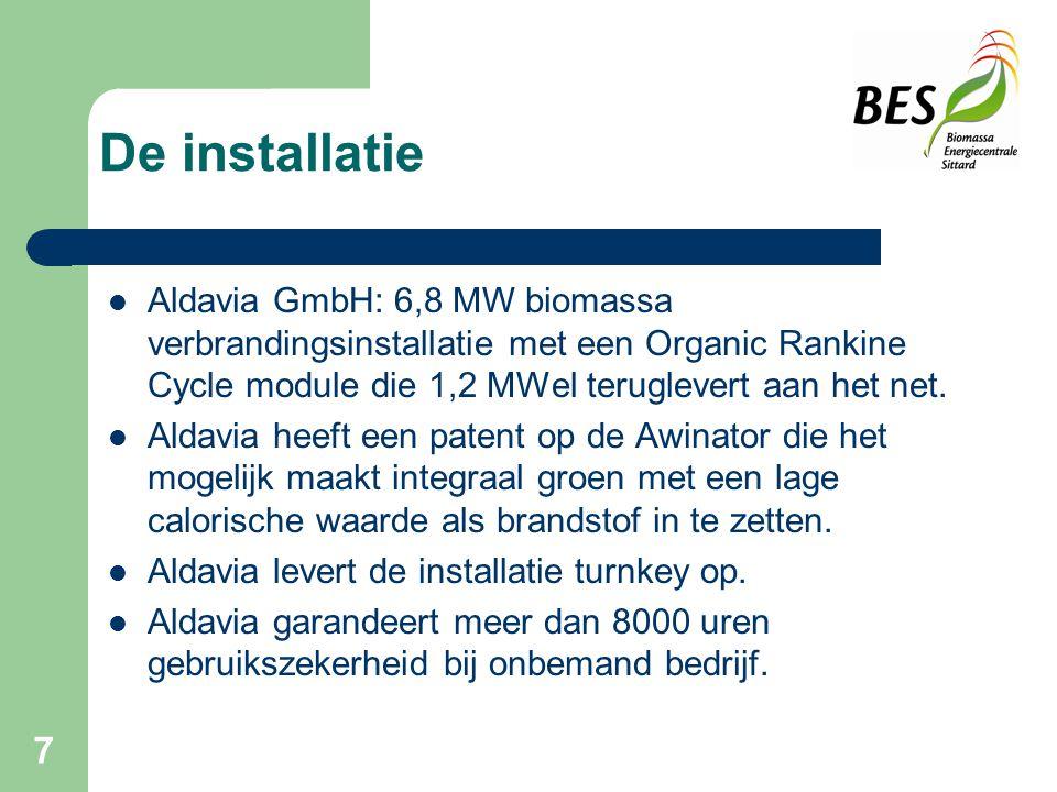 De installatie Aldavia GmbH: 6,8 MW biomassa verbrandingsinstallatie met een Organic Rankine Cycle module die 1,2 MWel teruglevert aan het net.
