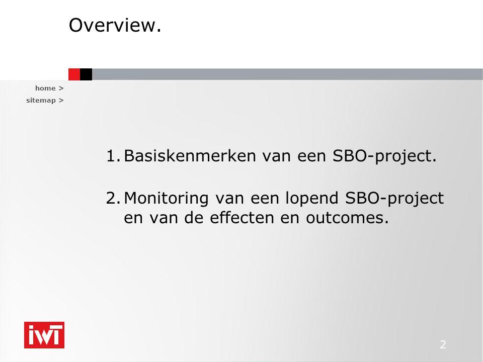 Overview. Basiskenmerken van een SBO-project.
