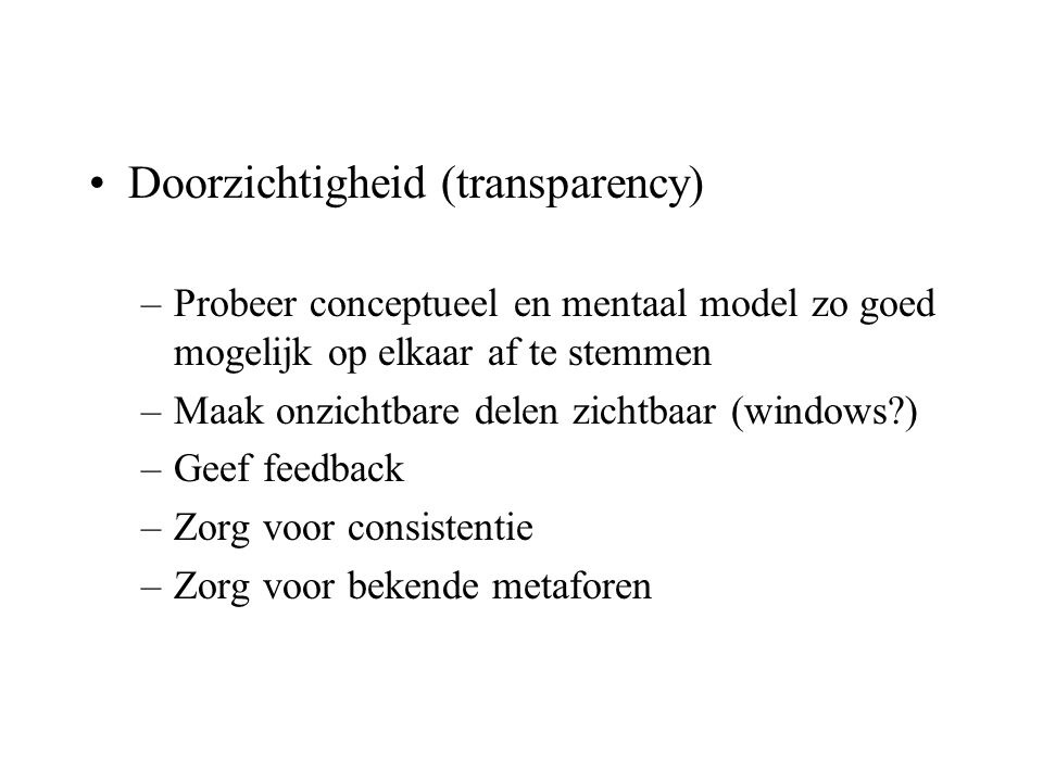 Doorzichtigheid (transparency)