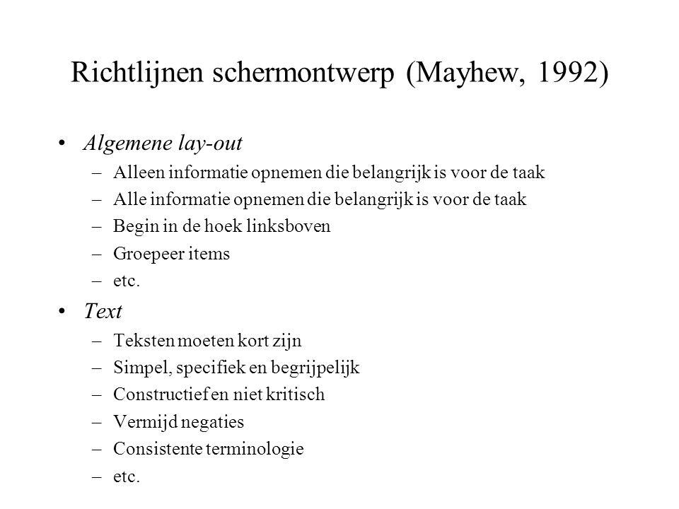 Richtlijnen schermontwerp (Mayhew, 1992)