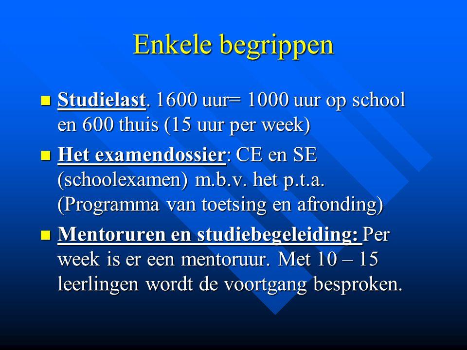 Enkele begrippen Studielast. 1600 uur= 1000 uur op school en 600 thuis (15 uur per week)