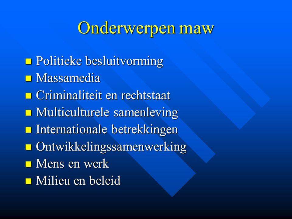 Onderwerpen maw Politieke besluitvorming Massamedia