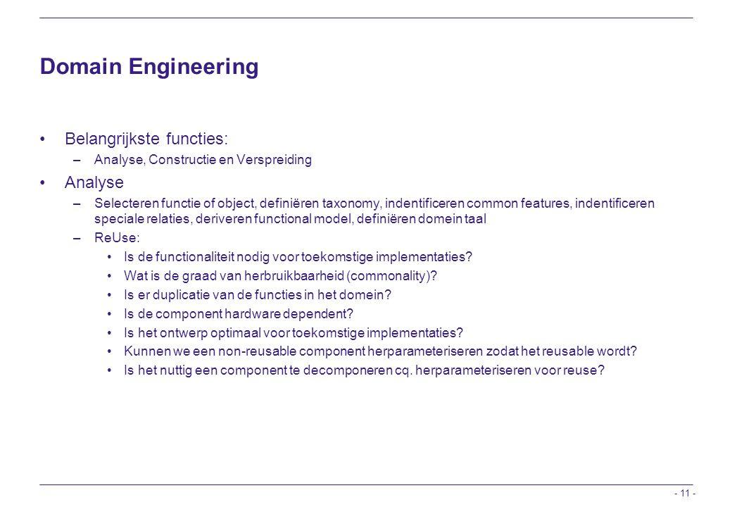 Domain Engineering Belangrijkste functies: Analyse