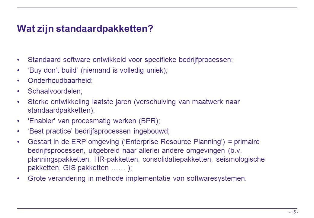 Wat zijn standaardpakketten
