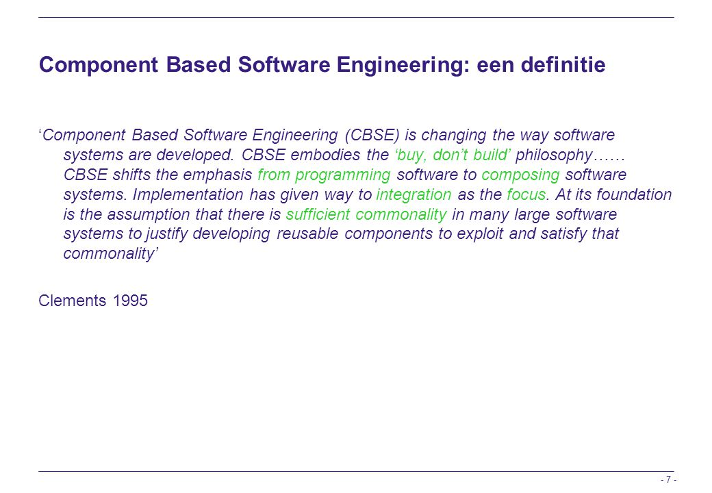 Component Based Software Engineering: een definitie