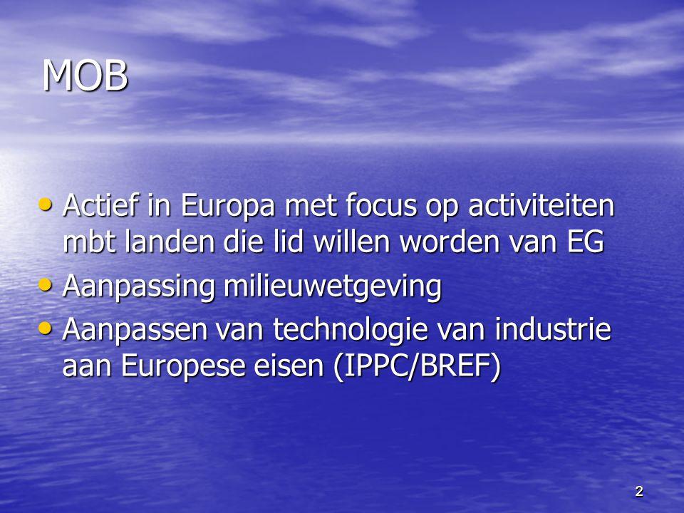 MOB Actief in Europa met focus op activiteiten mbt landen die lid willen worden van EG. Aanpassing milieuwetgeving.