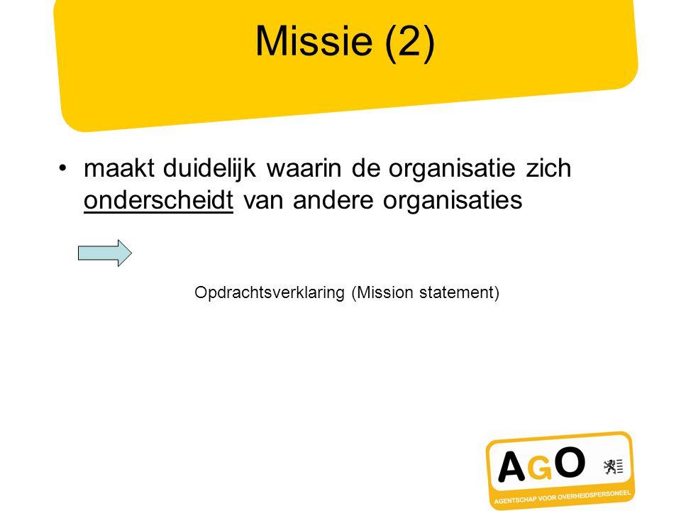 Missie (2) maakt duidelijk waarin de organisatie zich onderscheidt van andere organisaties. Opdrachtsverklaring (Mission statement)