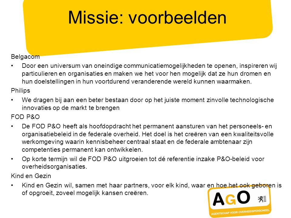 Missie: voorbeelden Belgacom