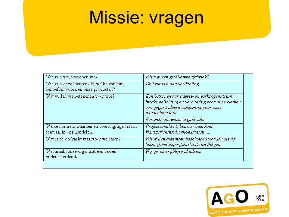Missie: vragen Tips - Wees ambitieus maar realistisch