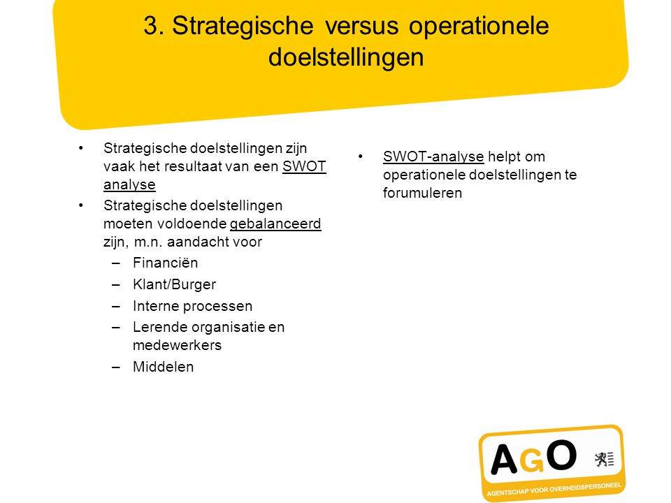 3. Strategische versus operationele doelstellingen