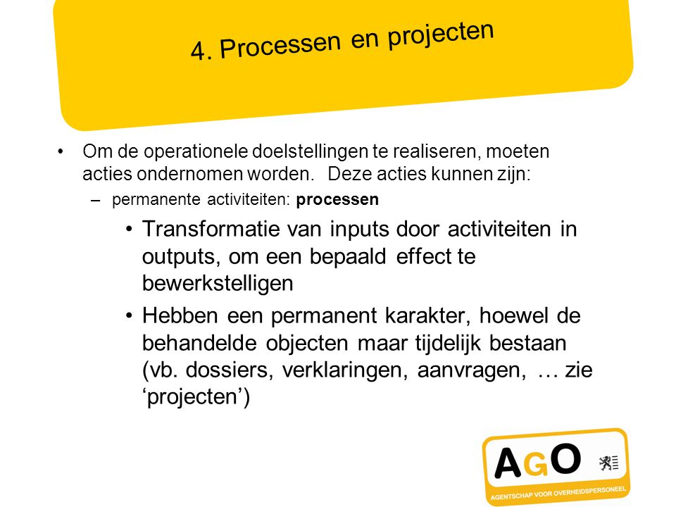 4. Processen en projecten