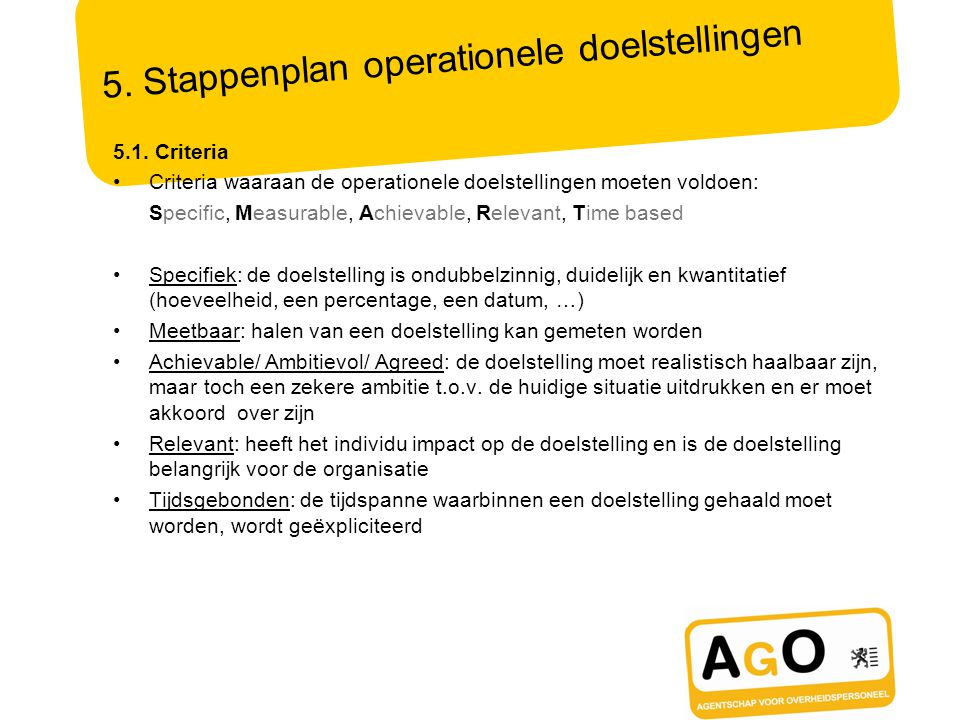 5. Stappenplan operationele doelstellingen