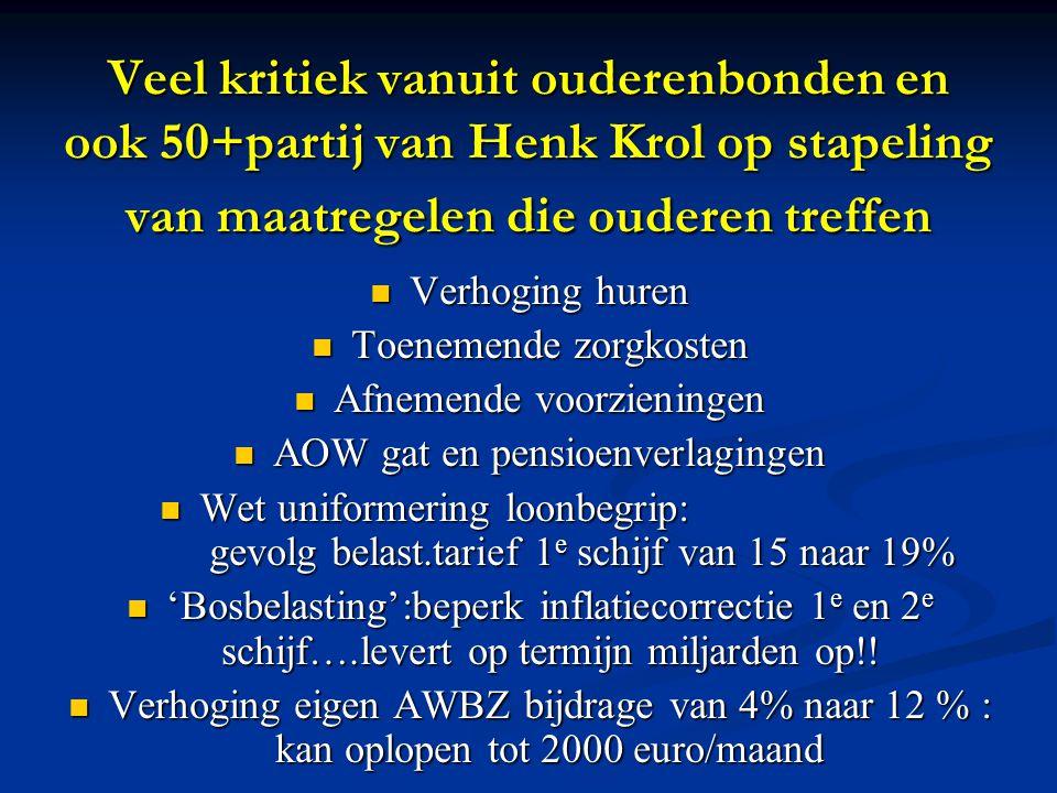 Veel kritiek vanuit ouderenbonden en ook 50+partij van Henk Krol op stapeling van maatregelen die ouderen treffen