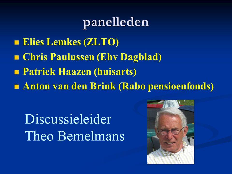 panelleden Discussieleider Theo Bemelmans Elies Lemkes (ZLTO)