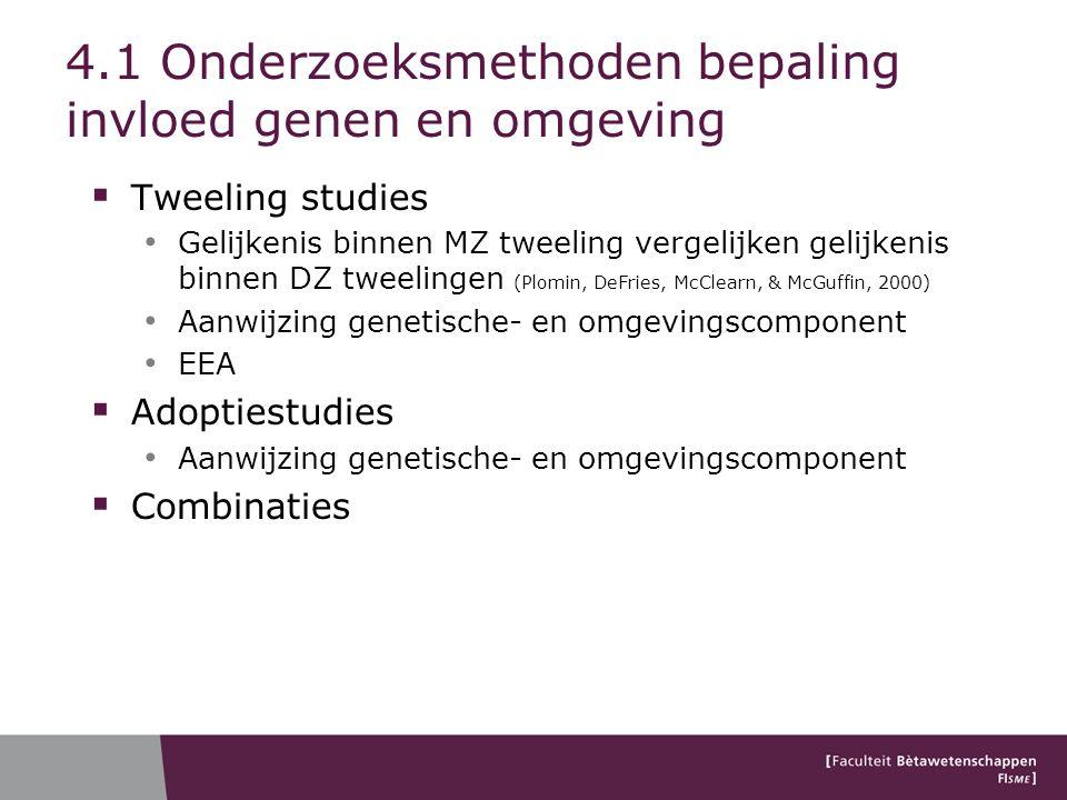 4.1 Onderzoeksmethoden bepaling invloed genen en omgeving