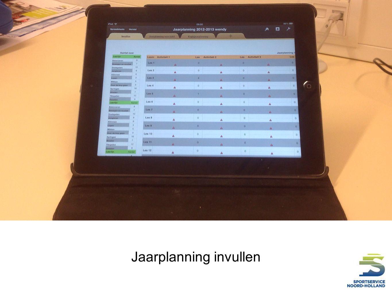 Jaarplanning invullen
