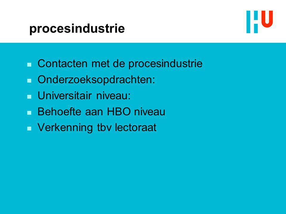 procesindustrie Contacten met de procesindustrie Onderzoeksopdrachten: