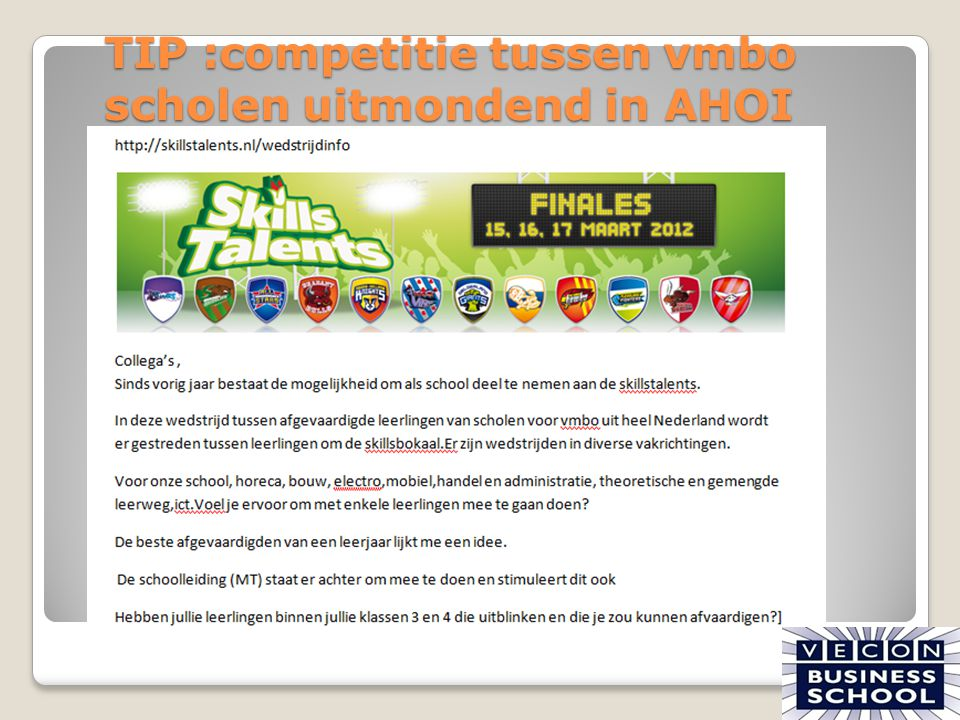 TIP :competitie tussen vmbo scholen uitmondend in AHOI