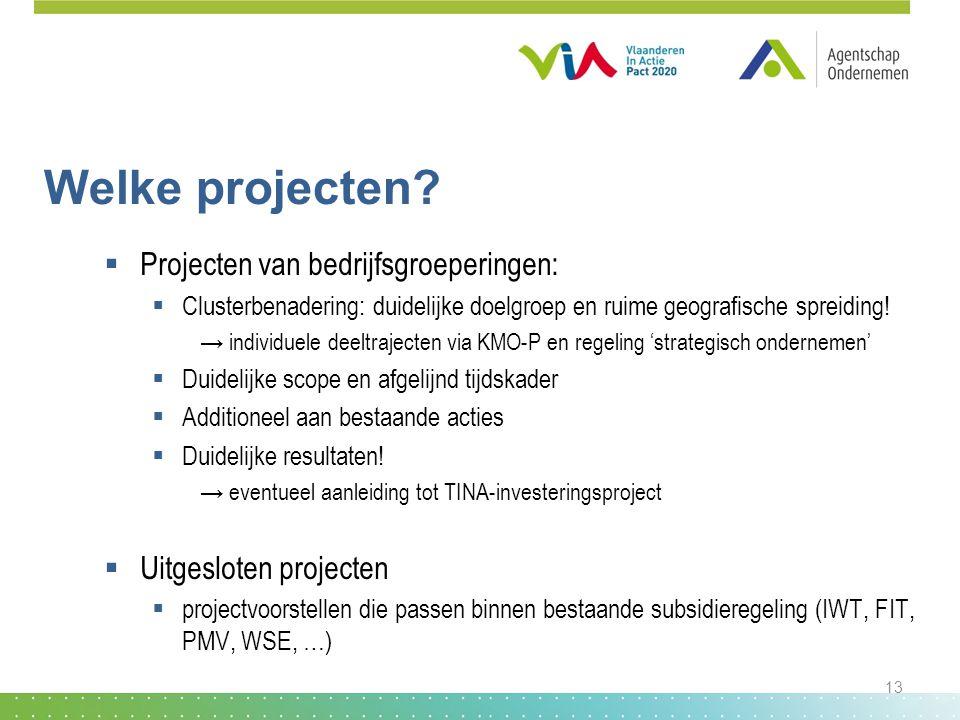Welke projecten Projecten van bedrijfsgroeperingen: