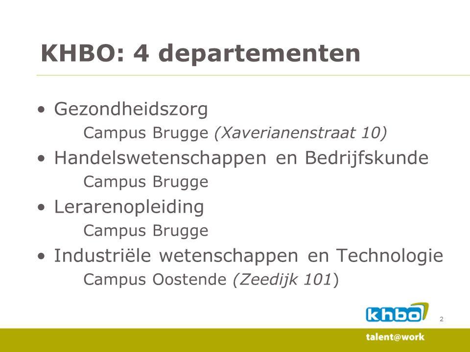 KHBO: 4 departementen Gezondheidszorg