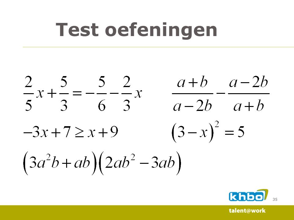 Test oefeningen