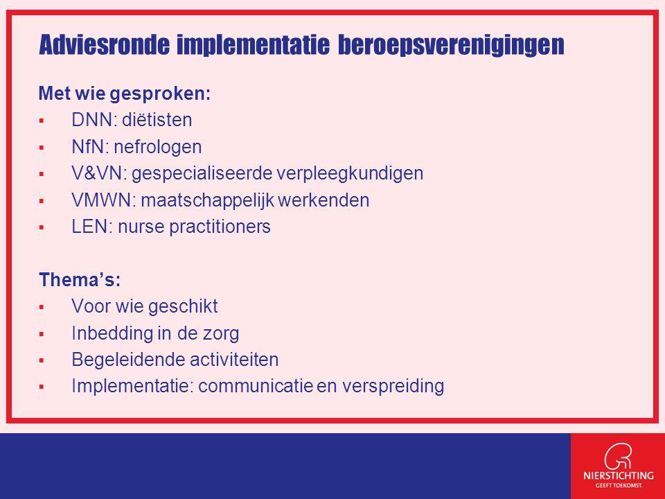 Adviesronde implementatie beroepsverenigingen