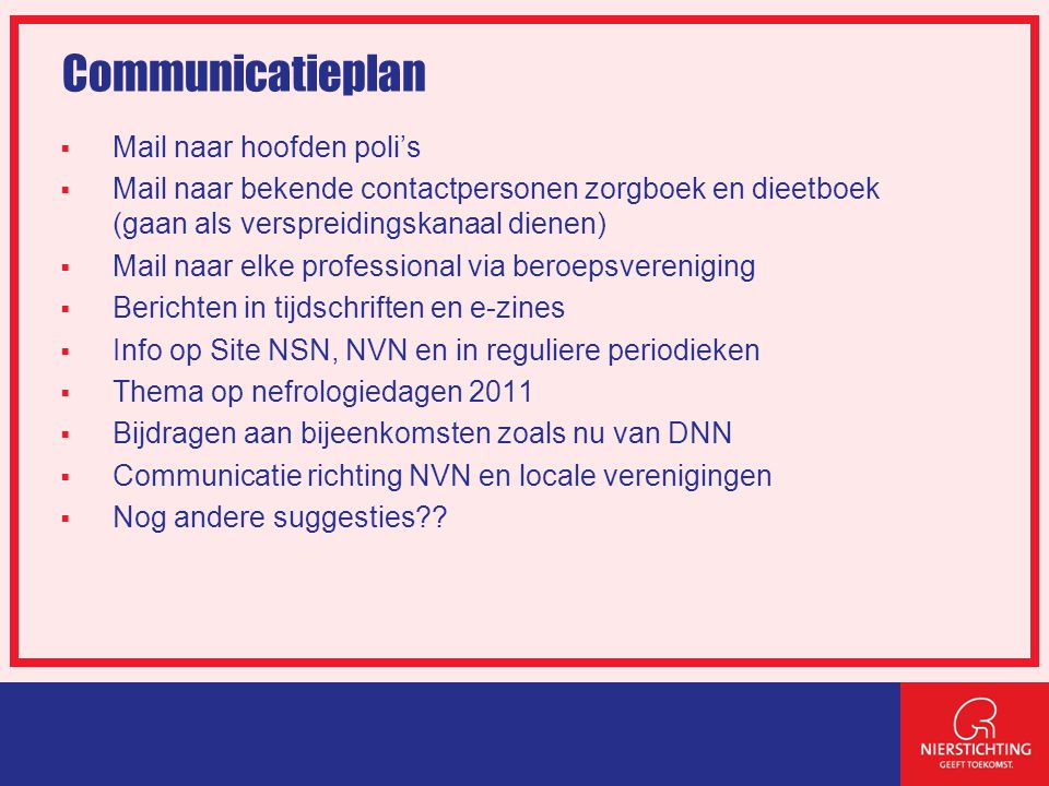 Communicatieplan Mail naar hoofden poli's